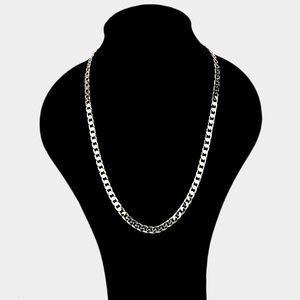 2PC - 14K Yellow GP Cuban Link Chain Necklace Set